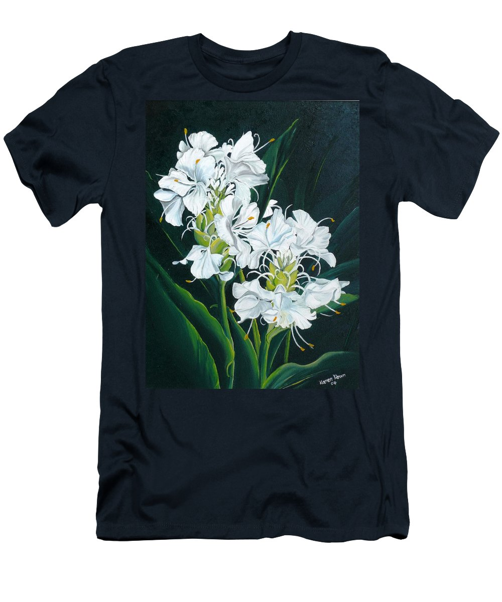 Caribbean Painting Butterfly Ginger Painting Floral Painting Botanical Painting Flower Painting Water Ginger Painting Or Water Ginger Tropical Lily Painting Original Oil Painting Trinidad And  Tobago Painting Tropical Painting Lily Painting White Flower Painting T-Shirt featuring the painting Butterfly Ginger by Karin Dawn Kelshall- Best