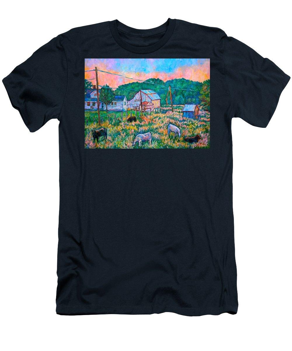 Landscape T-Shirt featuring the painting Farm Near Fancy Gap by Kendall Kessler
