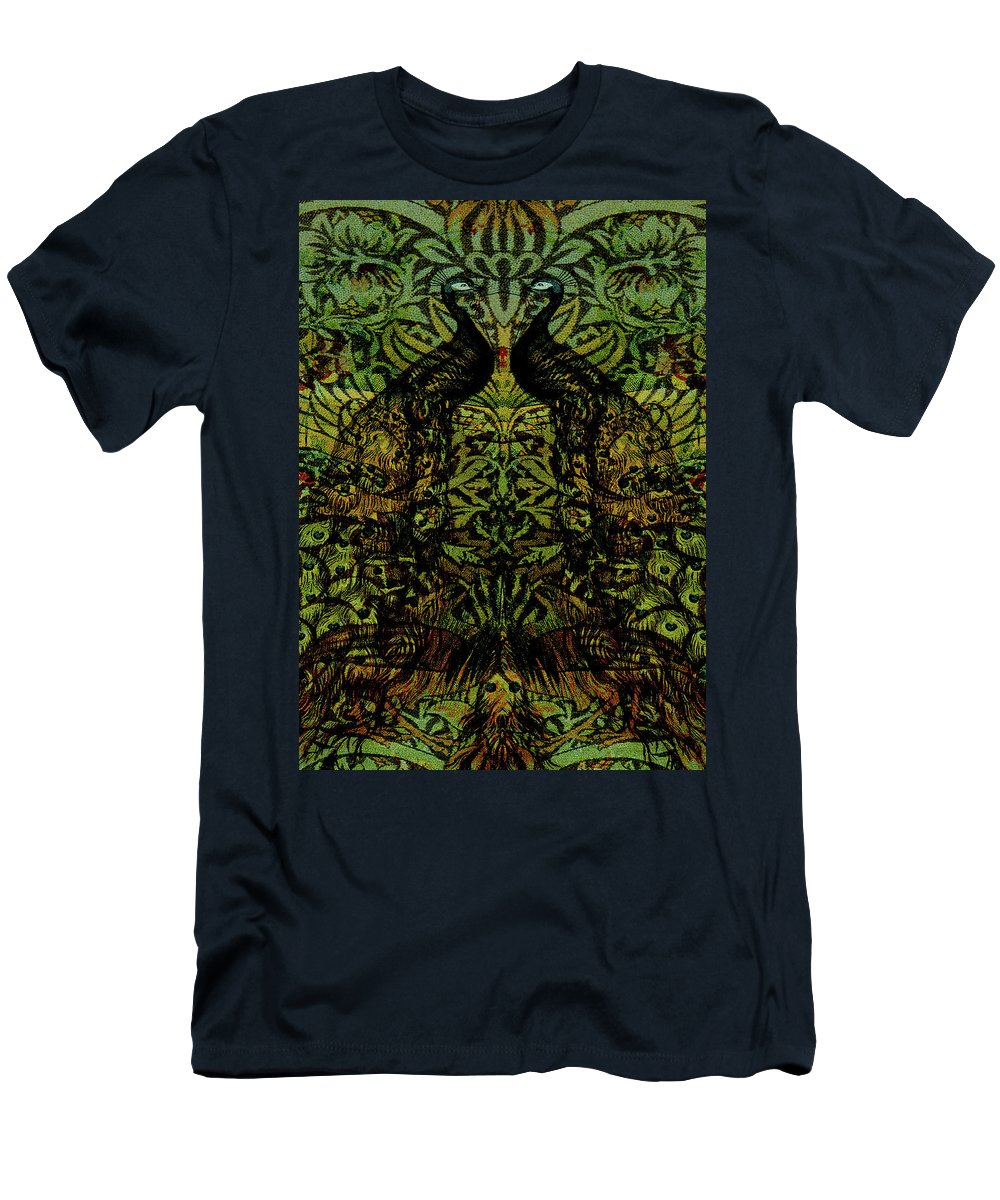 Peafowls T-Shirt featuring the digital art Indian Blue Peafowl Pattern by Sarah Vernon