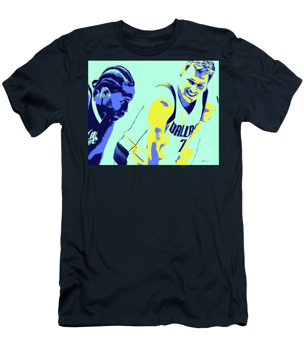 Kawhi T-Shirt featuring the painting Kawhi and Luca by Jack Bunds
