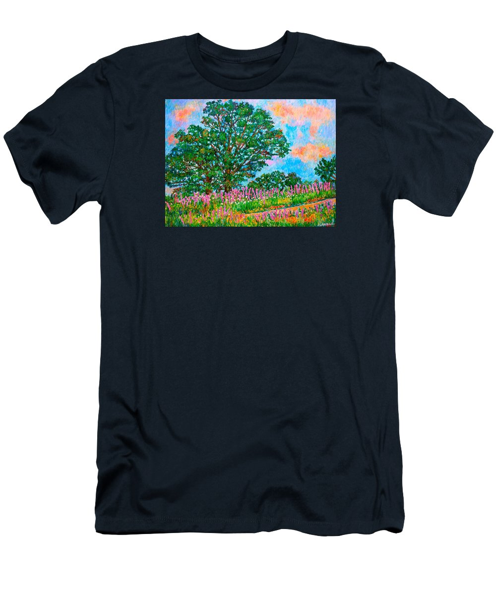 Landscape T-Shirt featuring the painting Liatris Flowers at Doughton Park by Kendall Kessler