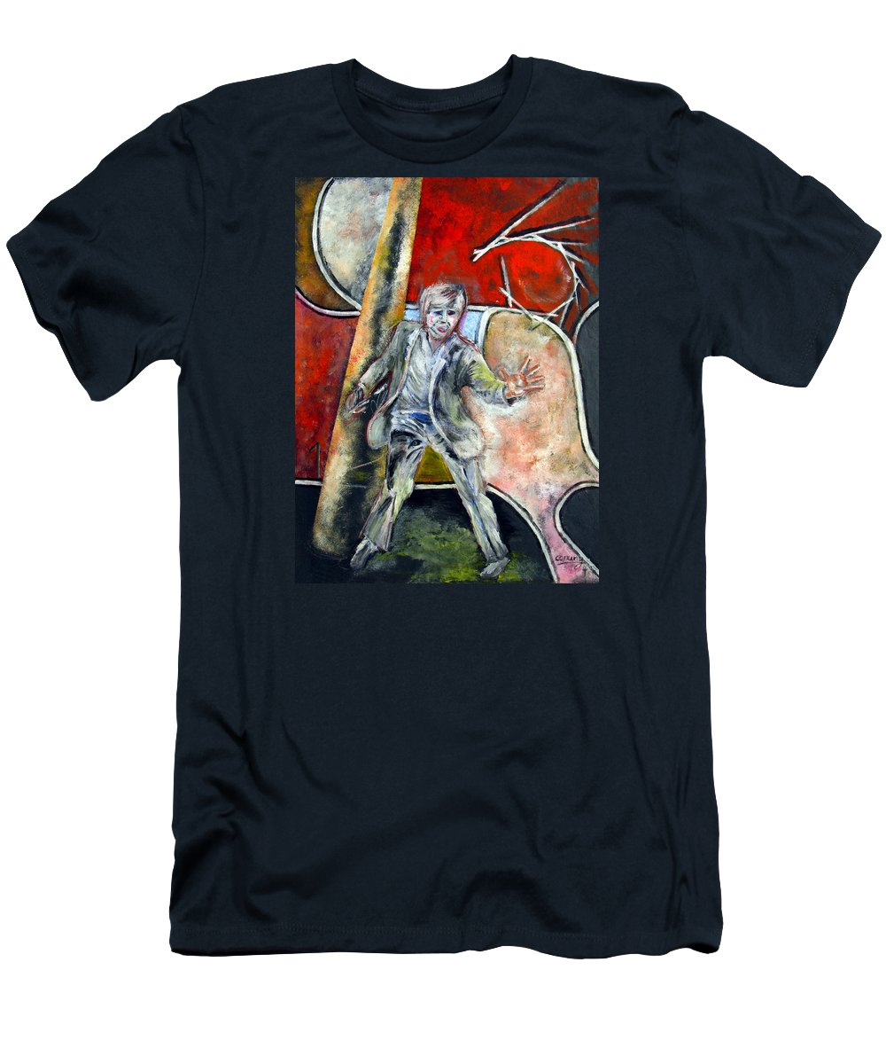 Male T-Shirt featuring the painting Mad World by Tom Conway