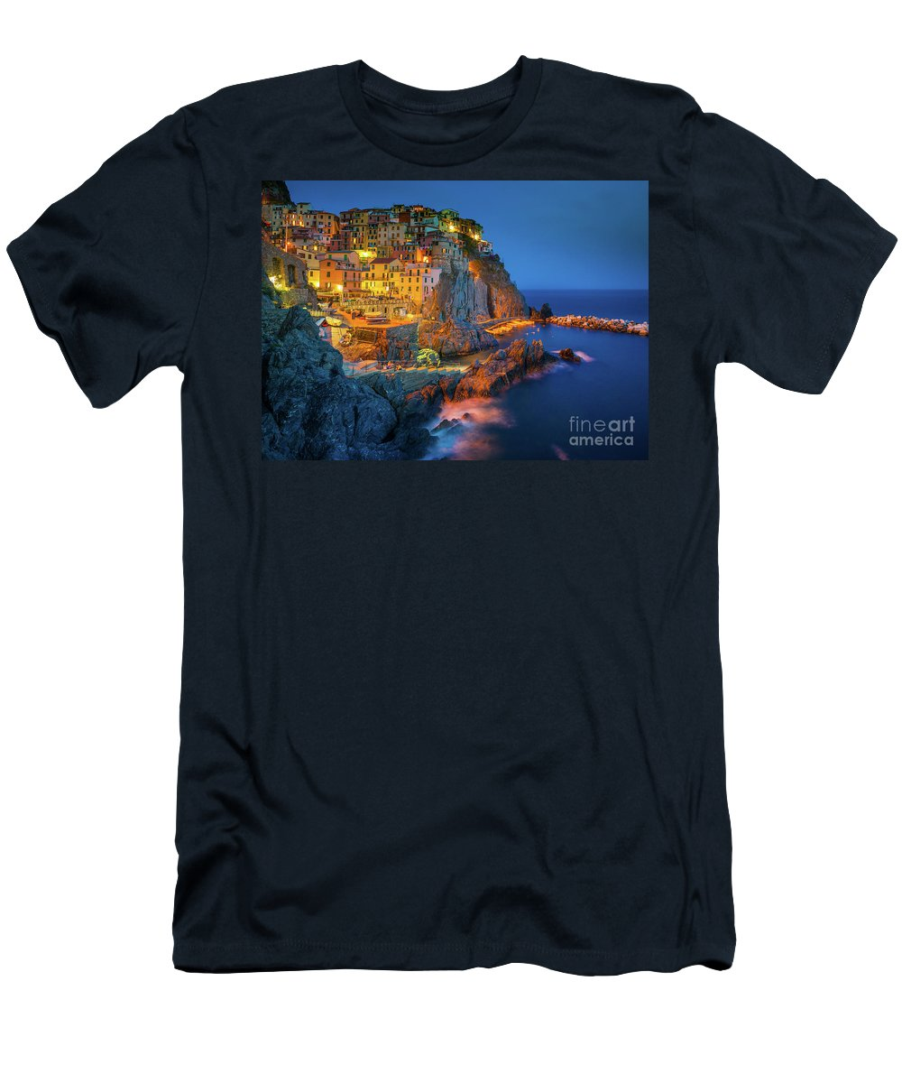 Cinque Terre T-Shirt featuring the photograph Manarola by night by Inge Johnsson