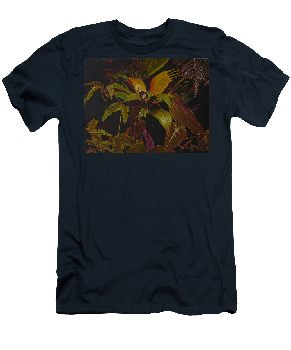 Plant T-Shirt featuring the painting Midnight in the garden by Thu Nguyen