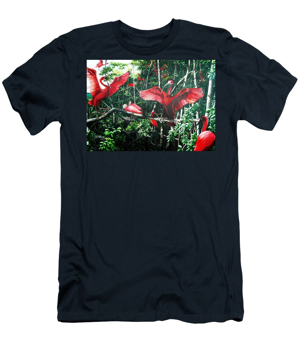 Caribbean Painting Scarlet Ibis Painting Bird Painting Coming Home To Roost Painting The Caroni Swamp In Trinidad And Tobago Greeting Card Painting Painting Tropical Painting T-Shirt featuring the painting Scarlet Ibis by Karin Dawn Kelshall- Best