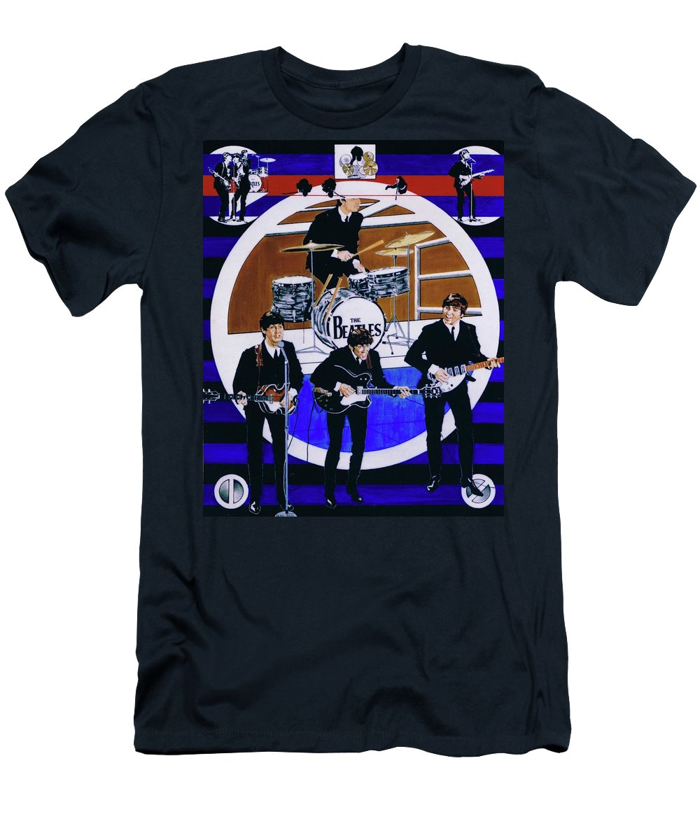 The Beatles Live T-Shirt featuring the drawing The Beatles - Live On The Ed Sullivan Show by Sean Connolly