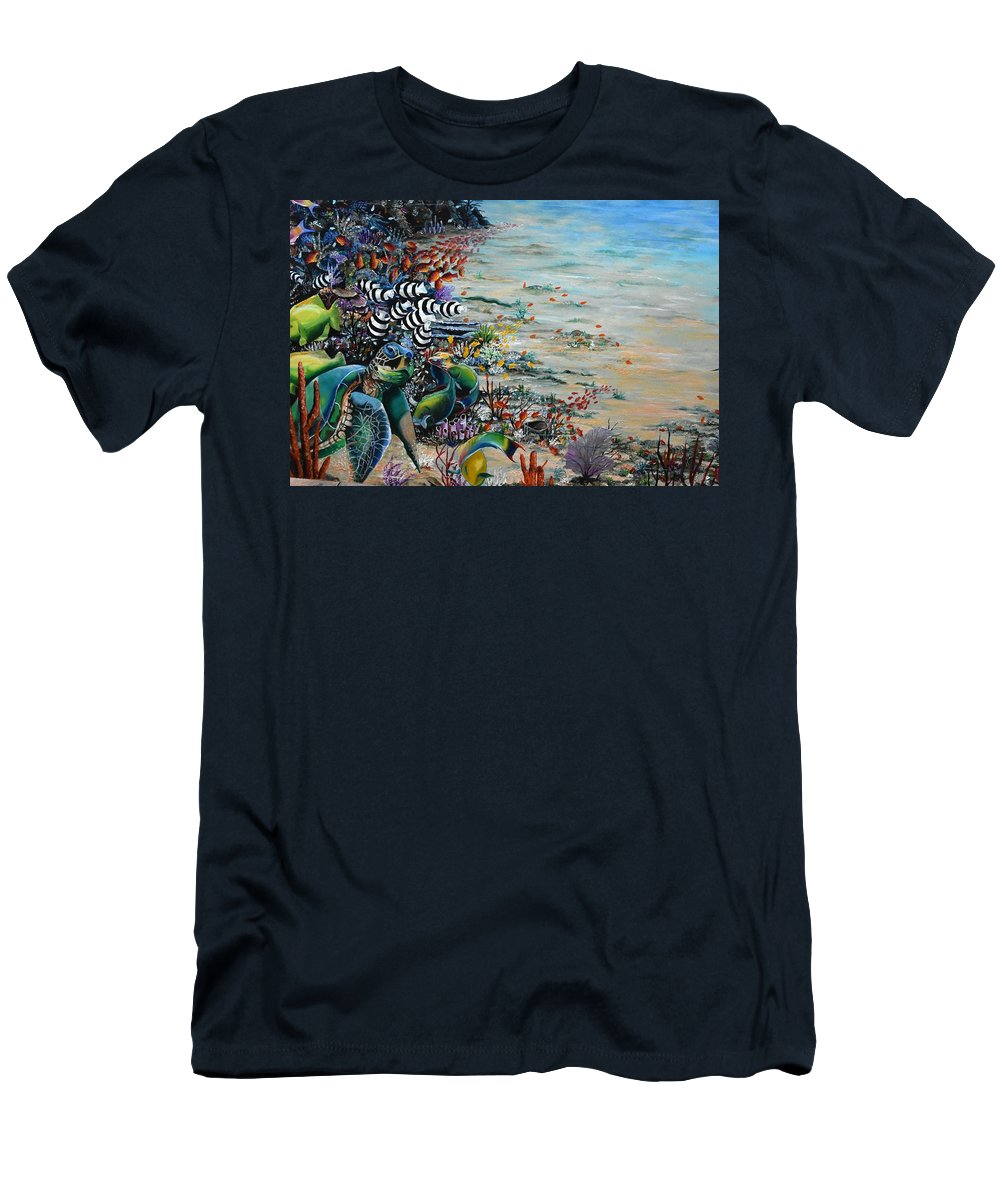 Sea Turtle T-Shirt featuring the painting Under Da Sea by Karin Dawn Kelshall- Best