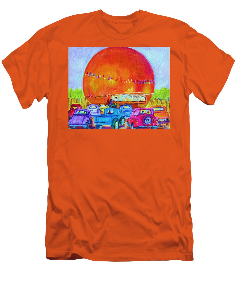 Cars Men's T-Shirt (Athletic Fit) featuring the painting Antique Cars At The Julep by Carole Spandau