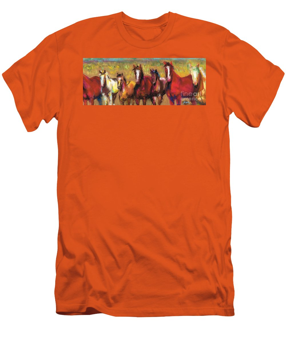 Horses Men's T-Shirt (Athletic Fit) featuring the painting Mares And Foals by Frances Marino