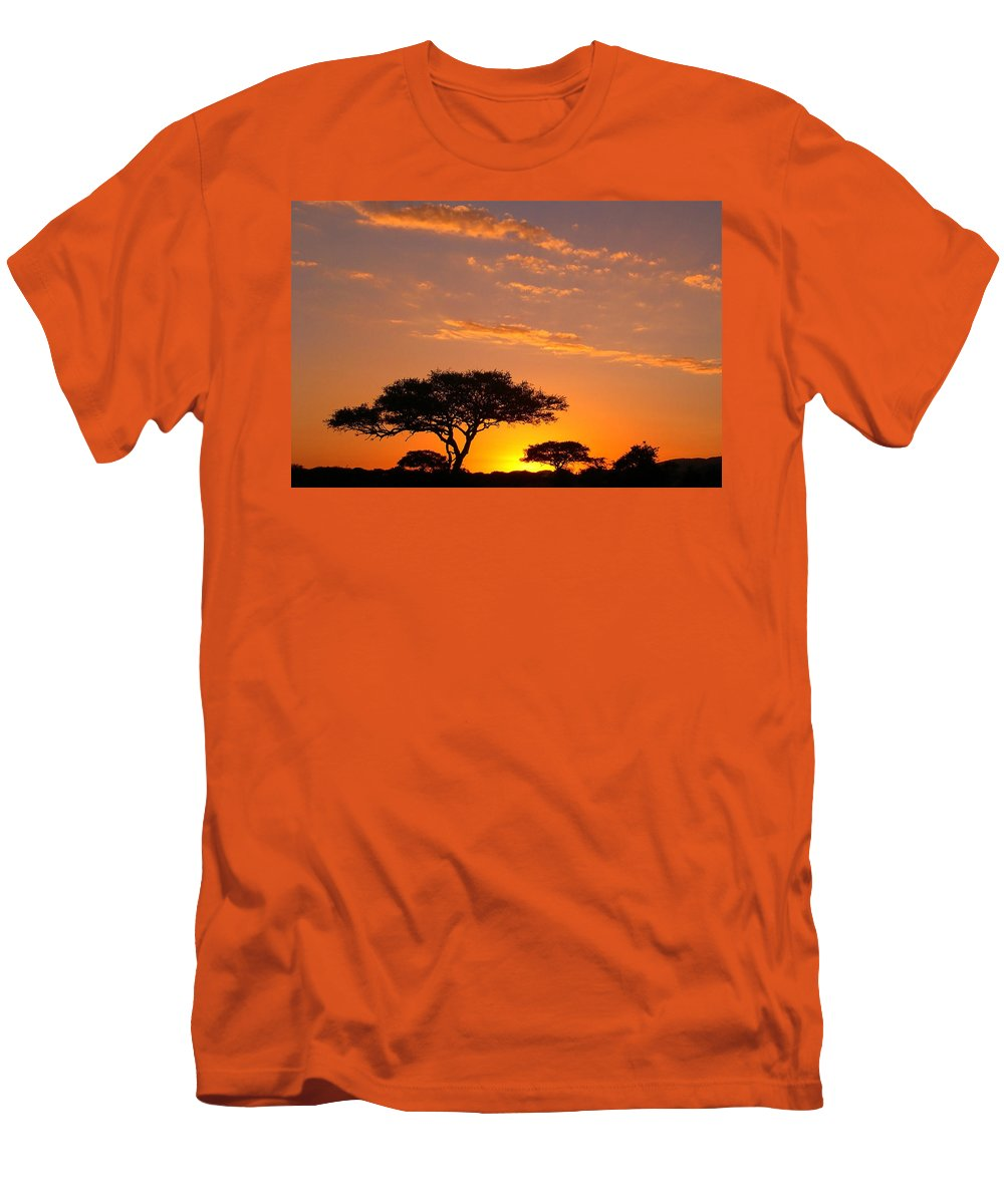 Africa Men's T-Shirt (Athletic Fit) featuring the photograph African Sunset by Sebastian Musial