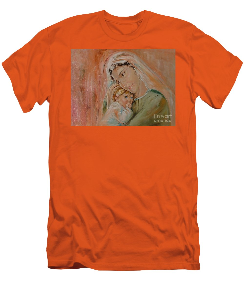 Classic Art Men's T-Shirt (Athletic Fit) featuring the painting Ave Maria by Silvana Abel