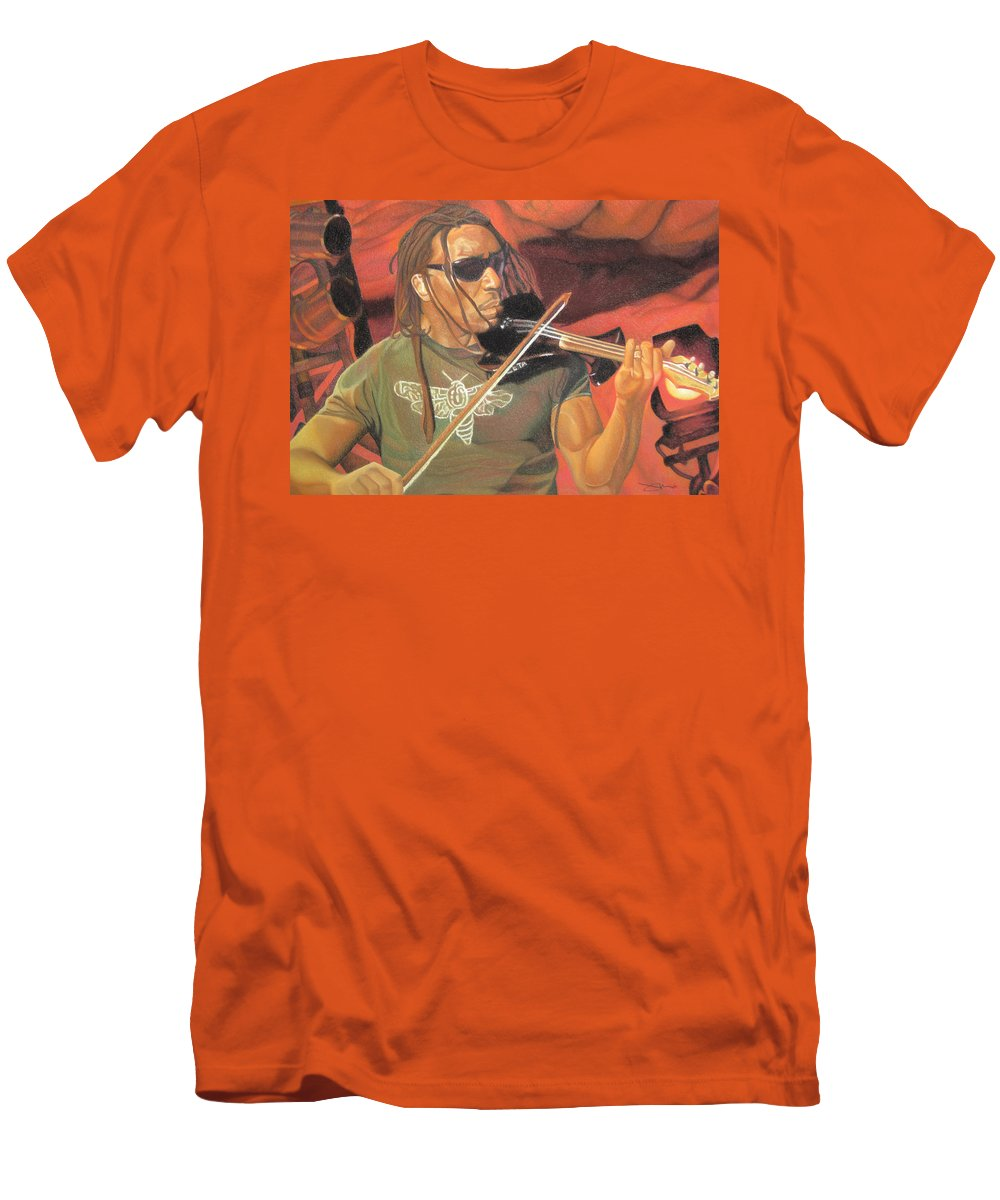 Boyd Tinsley Men's T-Shirt (Athletic Fit) featuring the drawing Boyd Tinsley At Red Rocks by Joshua Morton