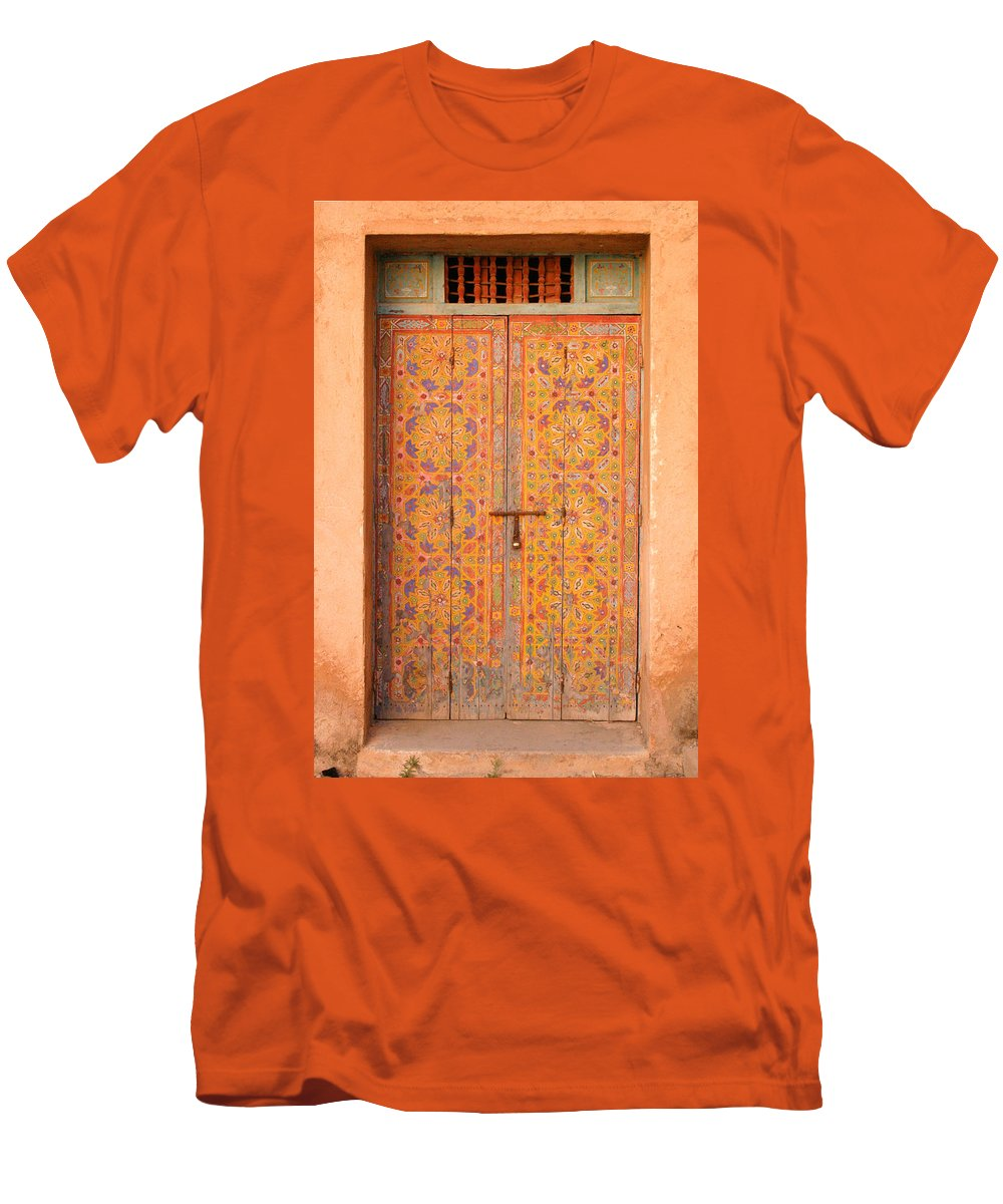 Door Men's T-Shirt (Athletic Fit) featuring the photograph Colourful Entrance Door Sale Rabat Morocco by Ralph A Ledergerber-Photography