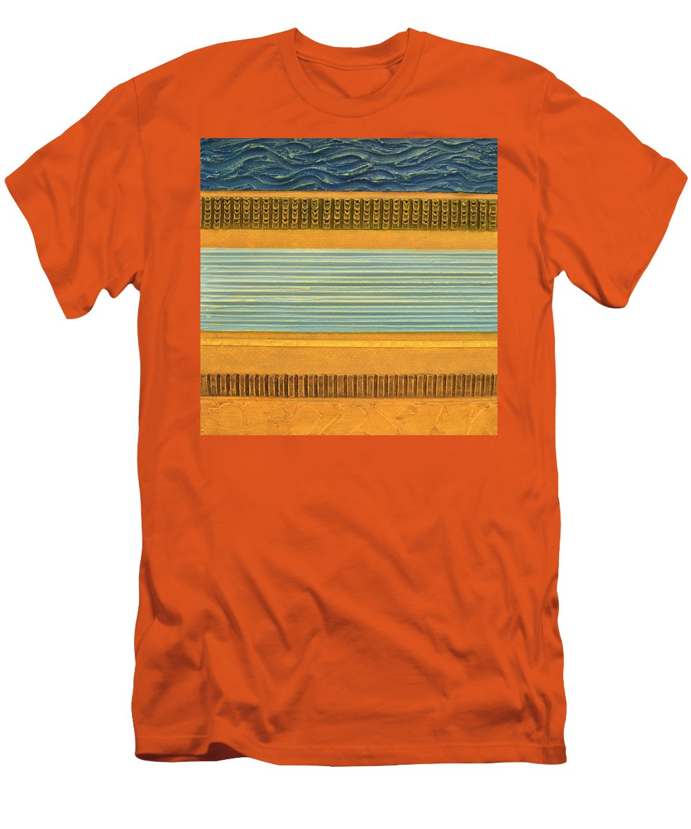 Abstract Men's T-Shirt (Athletic Fit) featuring the painting Earth Layers Abstract Ll by Michelle Calkins