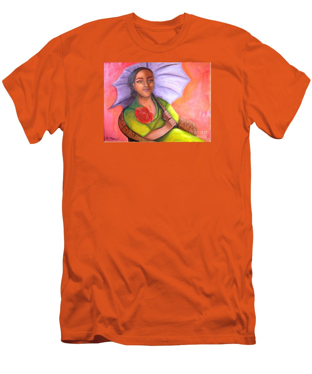 Rose Men's T-Shirt (Athletic Fit) featuring the painting Enchanted Rose by Laurie Morgan