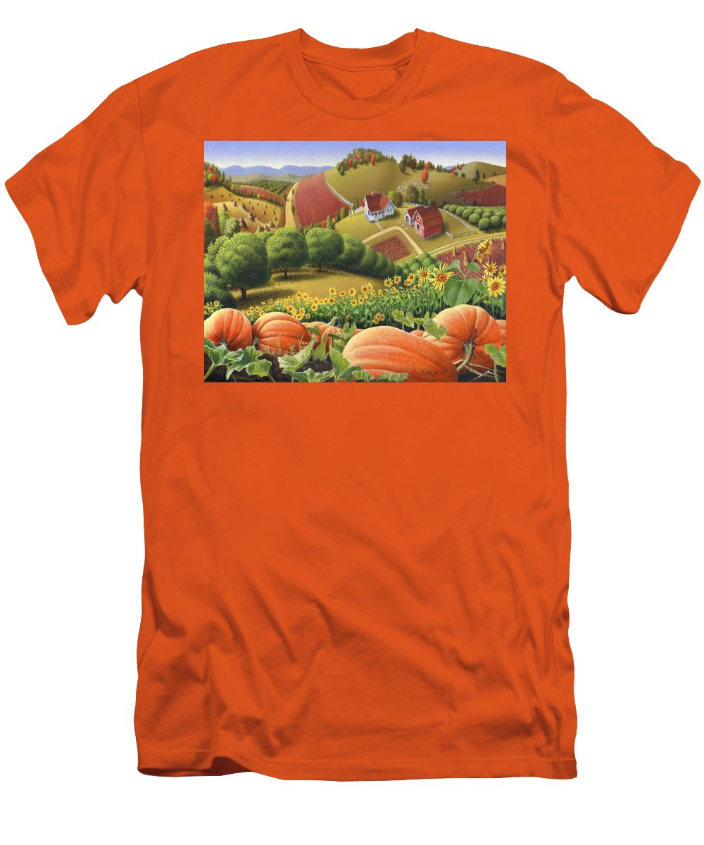 Pumpkin Men's T-Shirt (Athletic Fit) featuring the painting Farm Landscape - Autumn Rural Country Pumpkins Folk Art - Appalachian Americana - Fall Pumpkin Patch by Walt Curlee