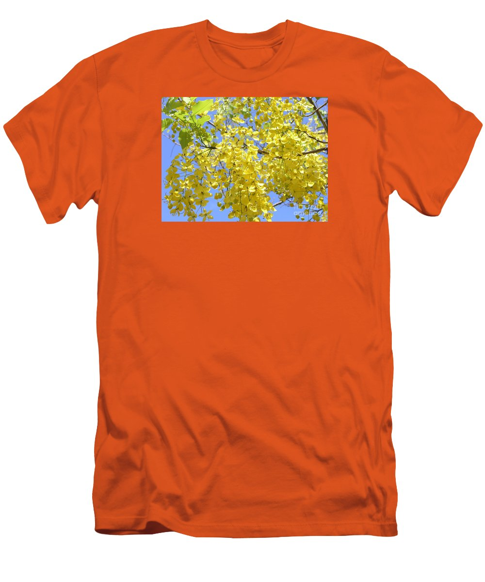 Yellow Men's T-Shirt (Athletic Fit) featuring the photograph Golden Medallion Shower Tree by Mary Deal