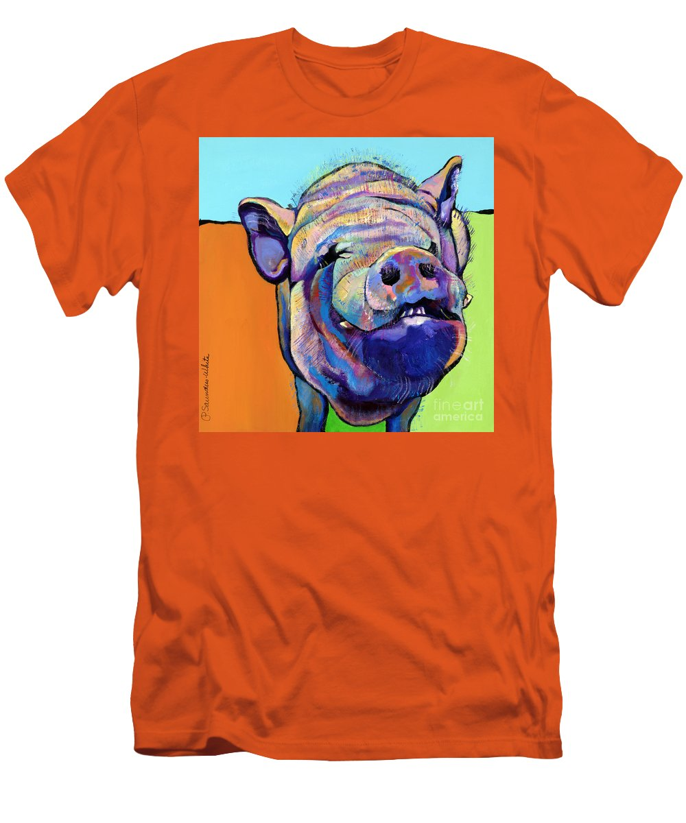 Pat Saunders-white Canvas Prints Men's T-Shirt (Athletic Fit) featuring the painting Grunt  by Pat Saunders-White