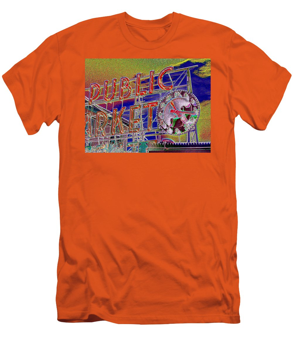 Seattle Men's T-Shirt (Athletic Fit) featuring the digital art Market Clock 1 by Tim Allen