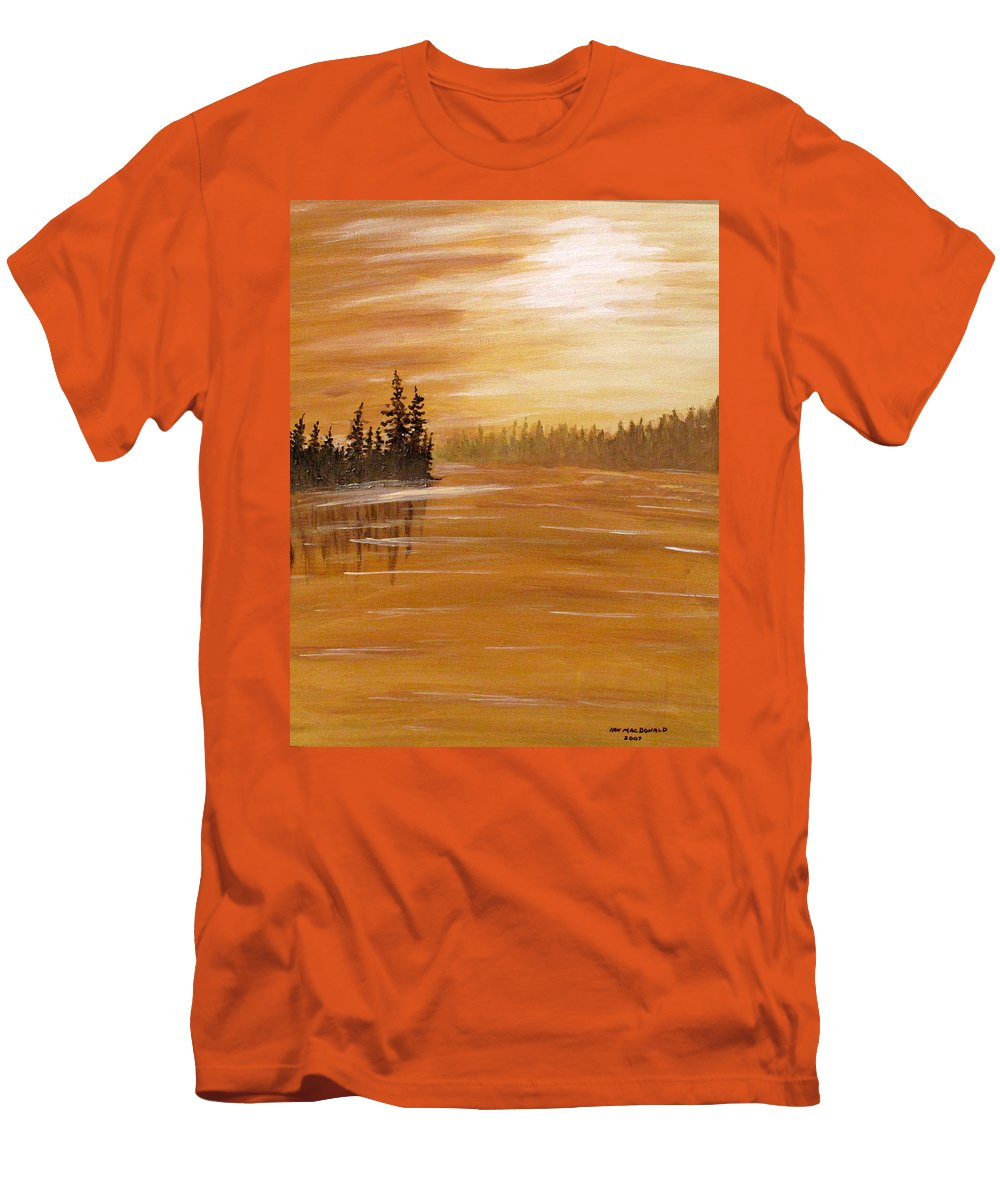 Northern Ontario Men's T-Shirt (Athletic Fit) featuring the painting Rock Lake Morning 1 by Ian MacDonald