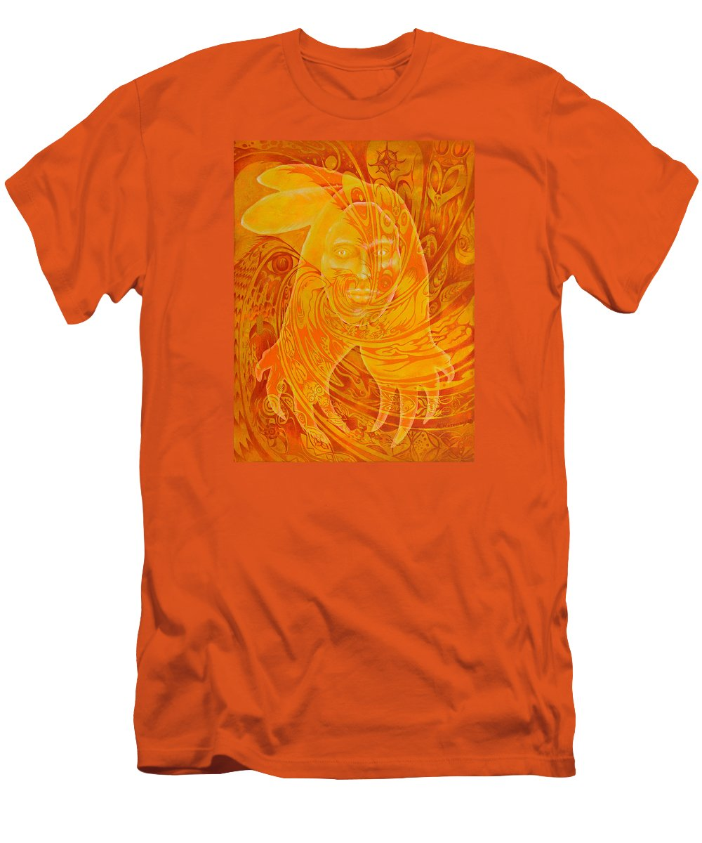 Native American Men's T-Shirt (Athletic Fit) featuring the painting Spirit Fire by Kevin Chasing Wolf Hutchins