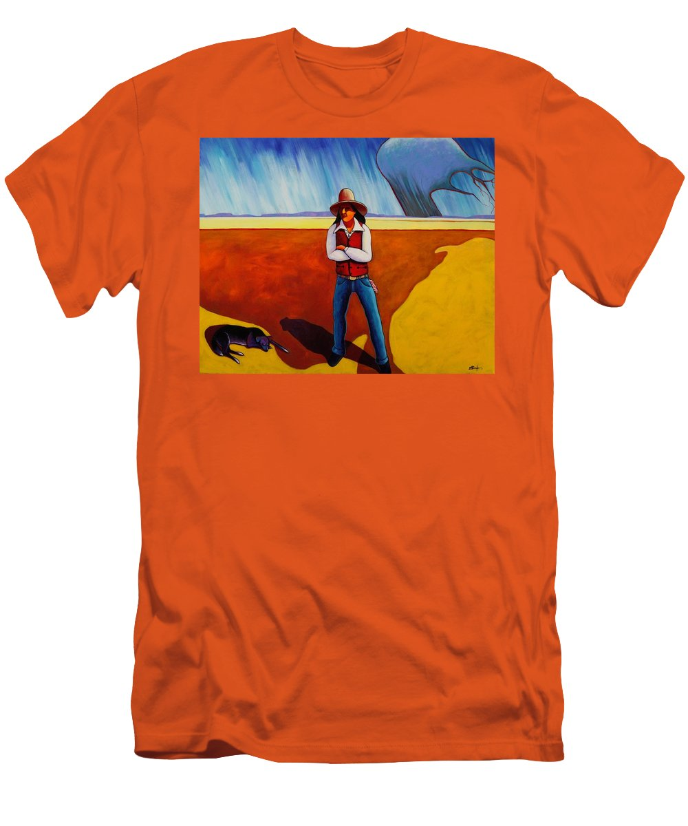 Native American Men's T-Shirt (Athletic Fit) featuring the painting The Logic Of Solitude by Joe Triano