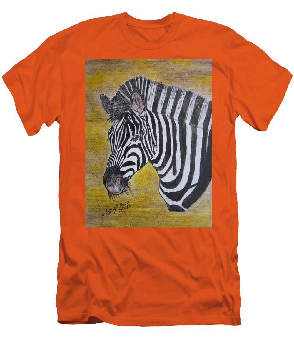 Zebra Men's T-Shirt (Athletic Fit) featuring the painting Zebra Portrait by Kathy Marrs Chandler