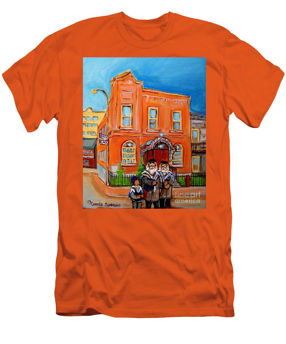 Beautiful Synagogue On Bagg Street Men's T-Shirt (Athletic Fit) featuring the painting Beautiful Synagogue On Bagg Street by Carole Spandau