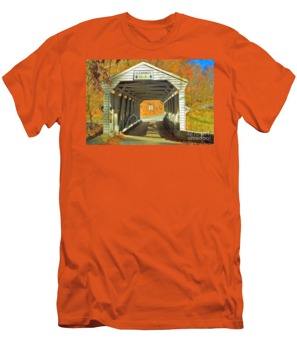 Covered Bridge Revolutionary Civil War Watercolor Photographs Men's T-Shirt (Athletic Fit) featuring the photograph Covered Bridge Watercolor by David Zanzinger