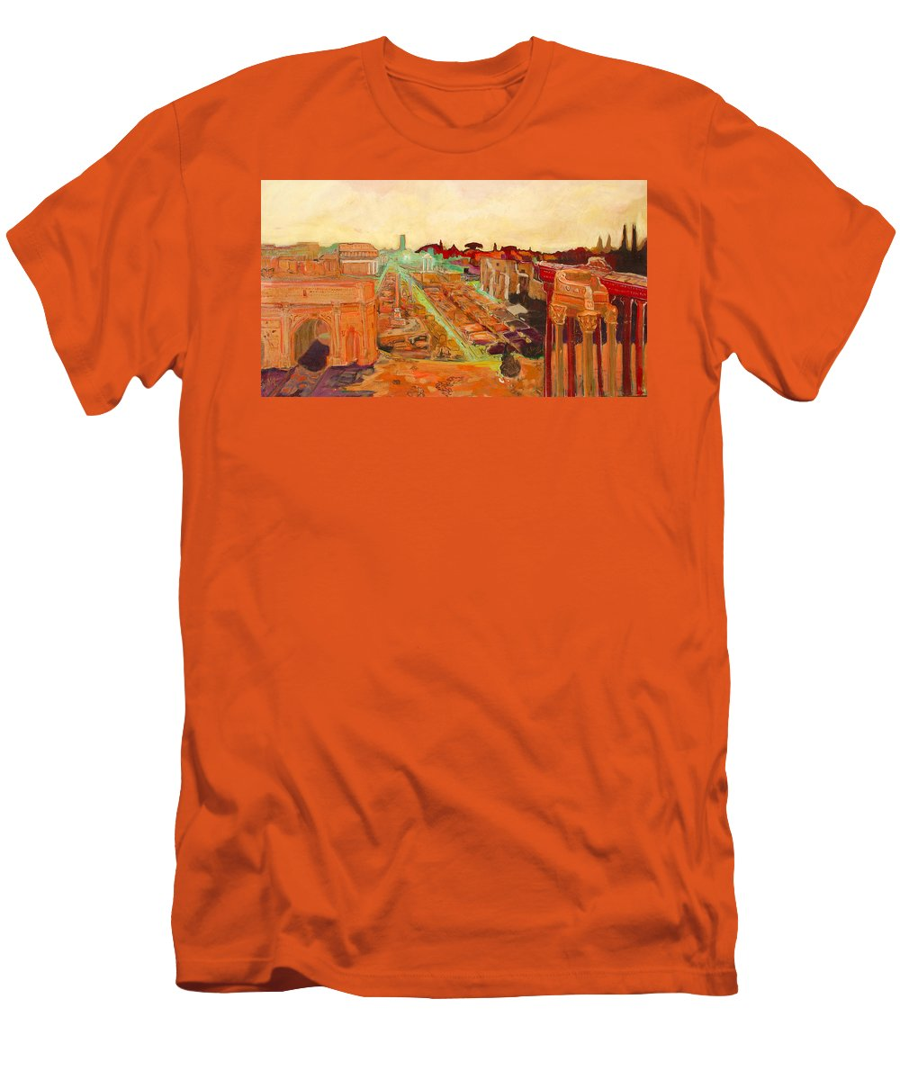 Rome Men's T-Shirt (Athletic Fit) featuring the painting Foro Romano by Kurt Hausmann
