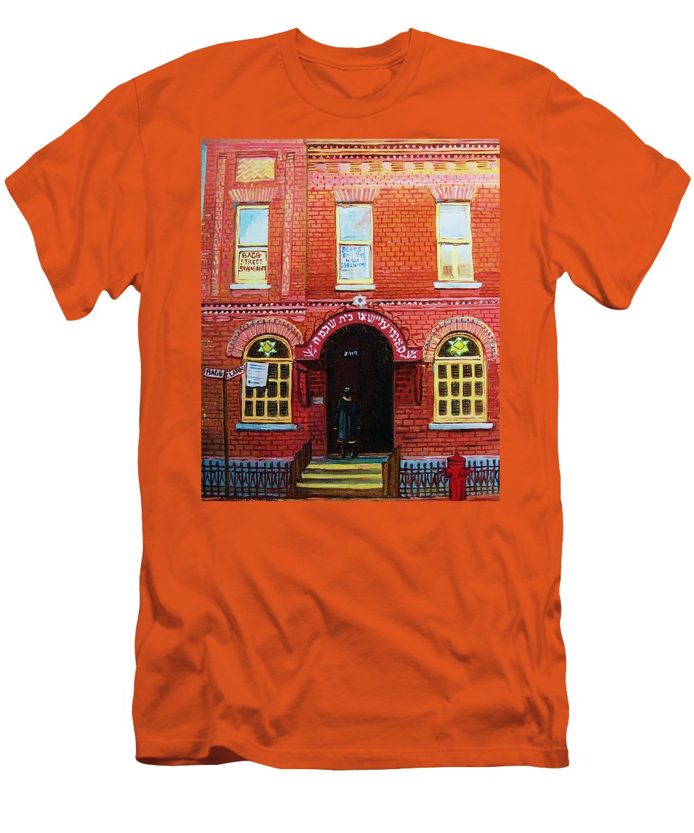 Synagogues Men's T-Shirt (Athletic Fit) featuring the painting Temple Solomon Congregation by Carole Spandau