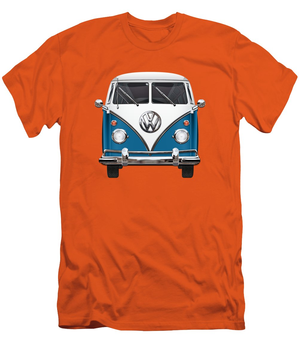 'volkswagen Type 2' Collection By Serge Averbukh Men's T-Shirt (Slim Fit) featuring the photograph Volkswagen Type 2 - Blue And White Volkswagen T 1 Samba Bus Over Orange Canvas by Serge Averbukh