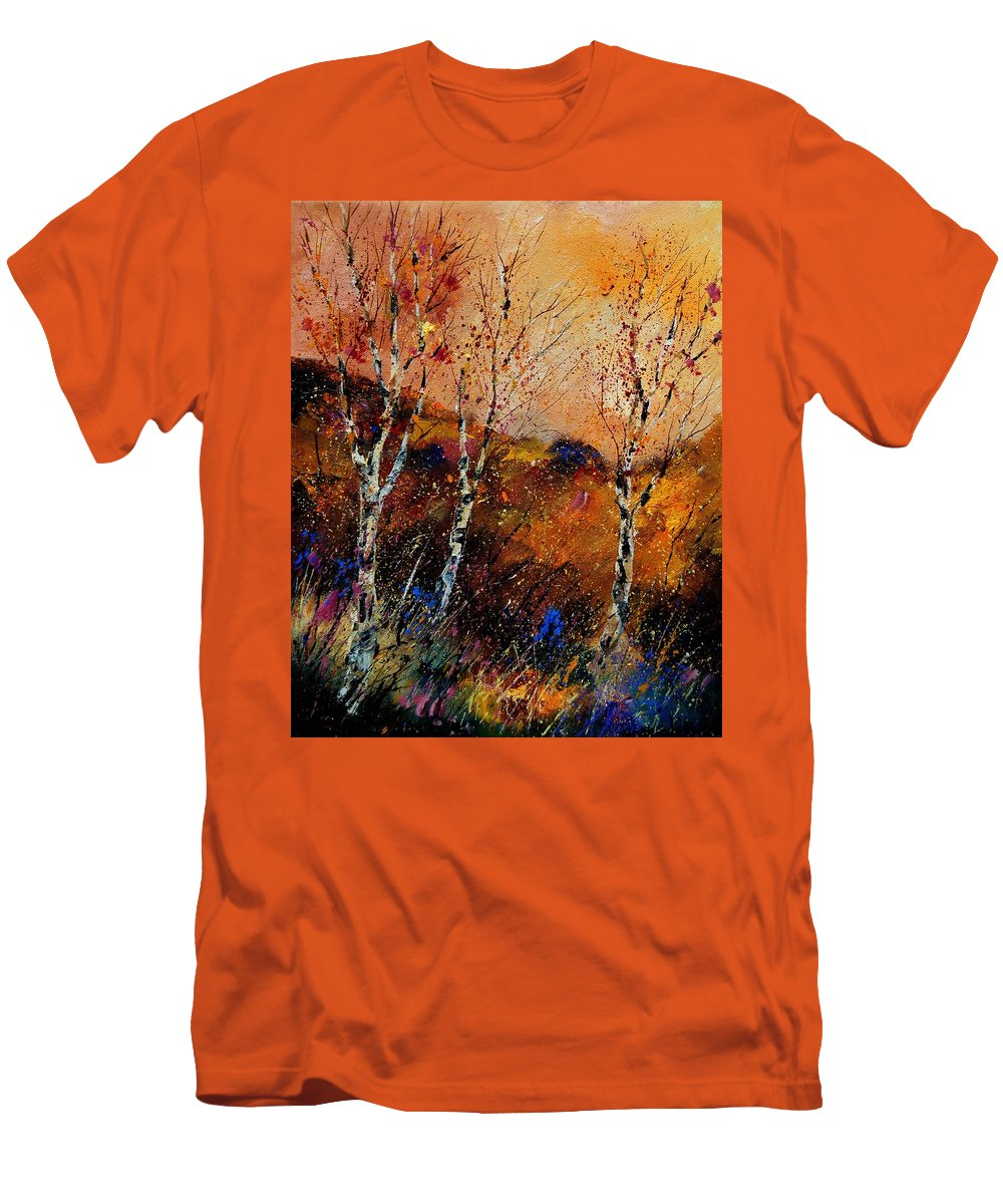 River Men's T-Shirt (Athletic Fit) featuring the painting 3 Poplars by Pol Ledent