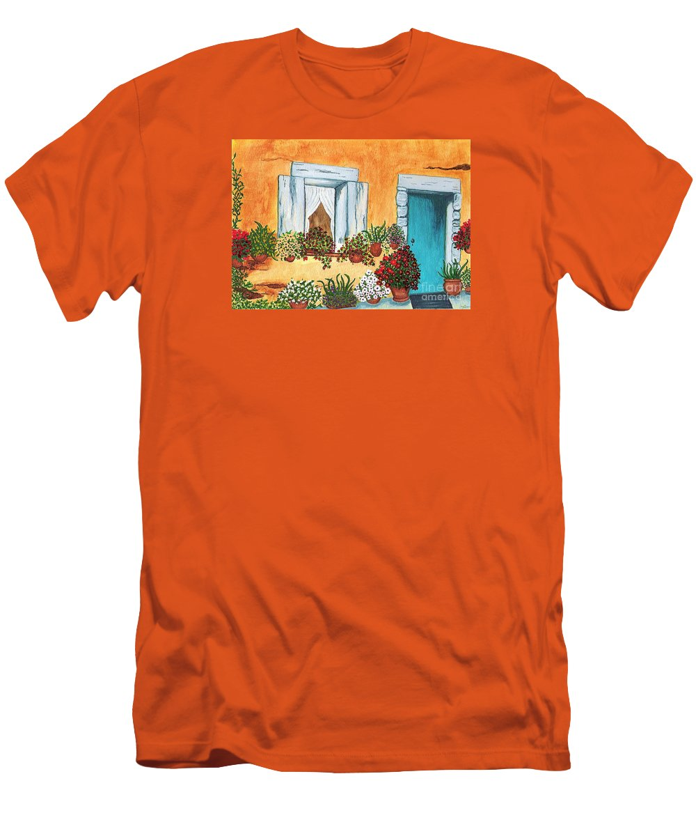 Watercolor Painting Men's T-Shirt (Athletic Fit) featuring the painting A Cottage In The Village by Patricia Griffin Brett