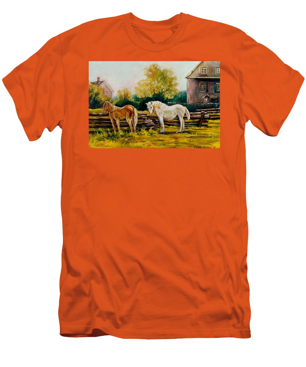 Horses Men's T-Shirt (Athletic Fit) featuring the painting A Wonderful Life by Carole Spandau