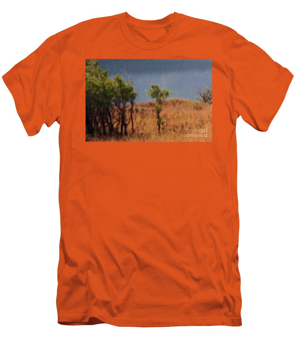 Field Men's T-Shirt (Athletic Fit) featuring the digital art Along The Lake by Richard Rizzo
