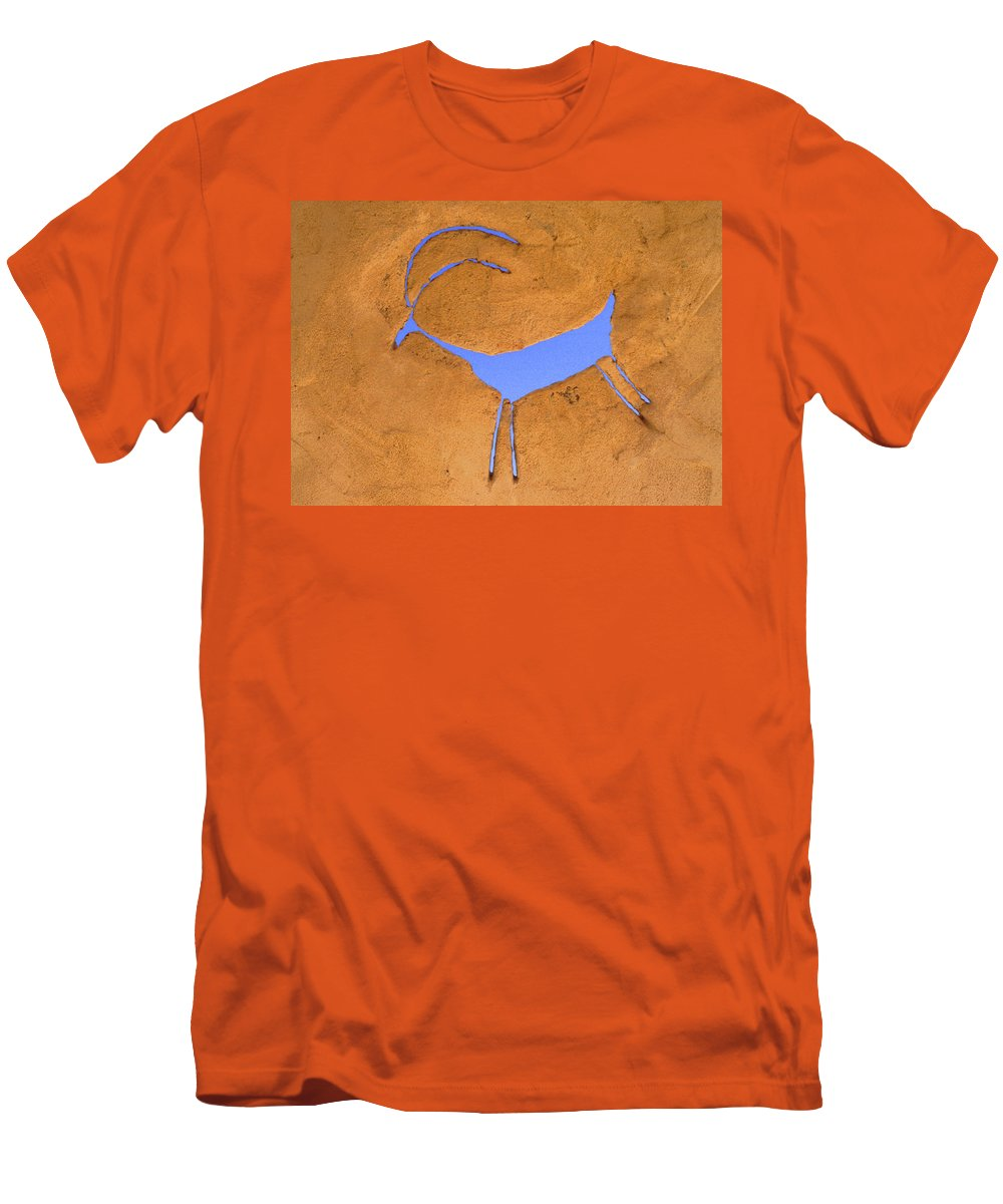 Anasazi Men's T-Shirt (Athletic Fit) featuring the photograph Antelope Petroglyph by Jerry McElroy