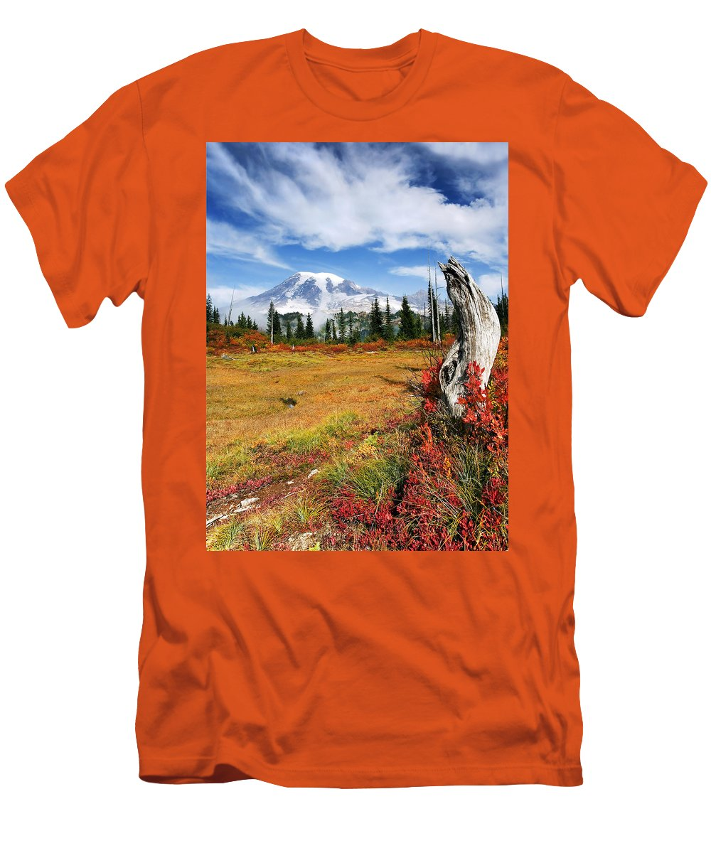 Rainier Men's T-Shirt (Athletic Fit) featuring the photograph Autumn Majesty by Mike Dawson
