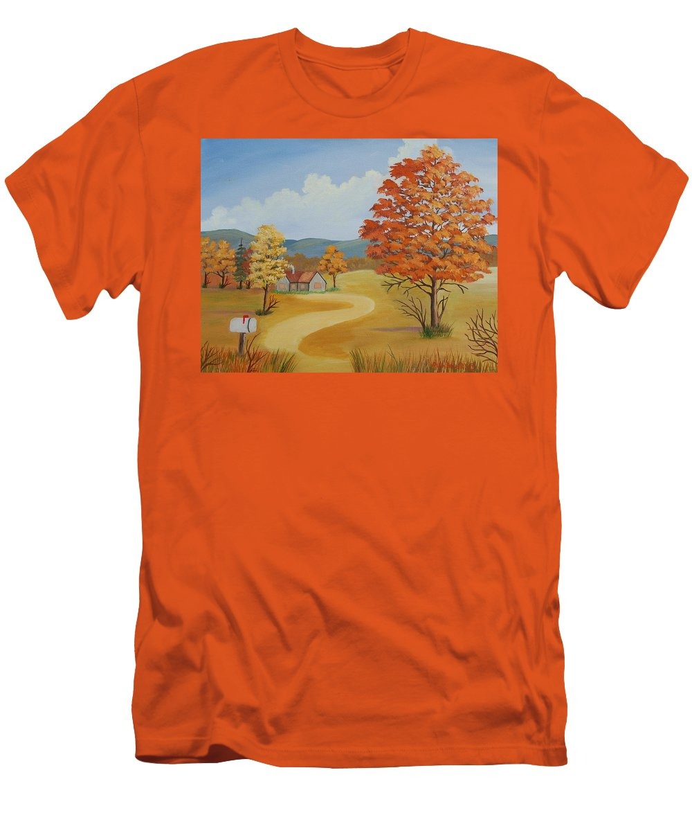Landscape Men's T-Shirt (Athletic Fit) featuring the painting Autumn Season by Ruth Housley
