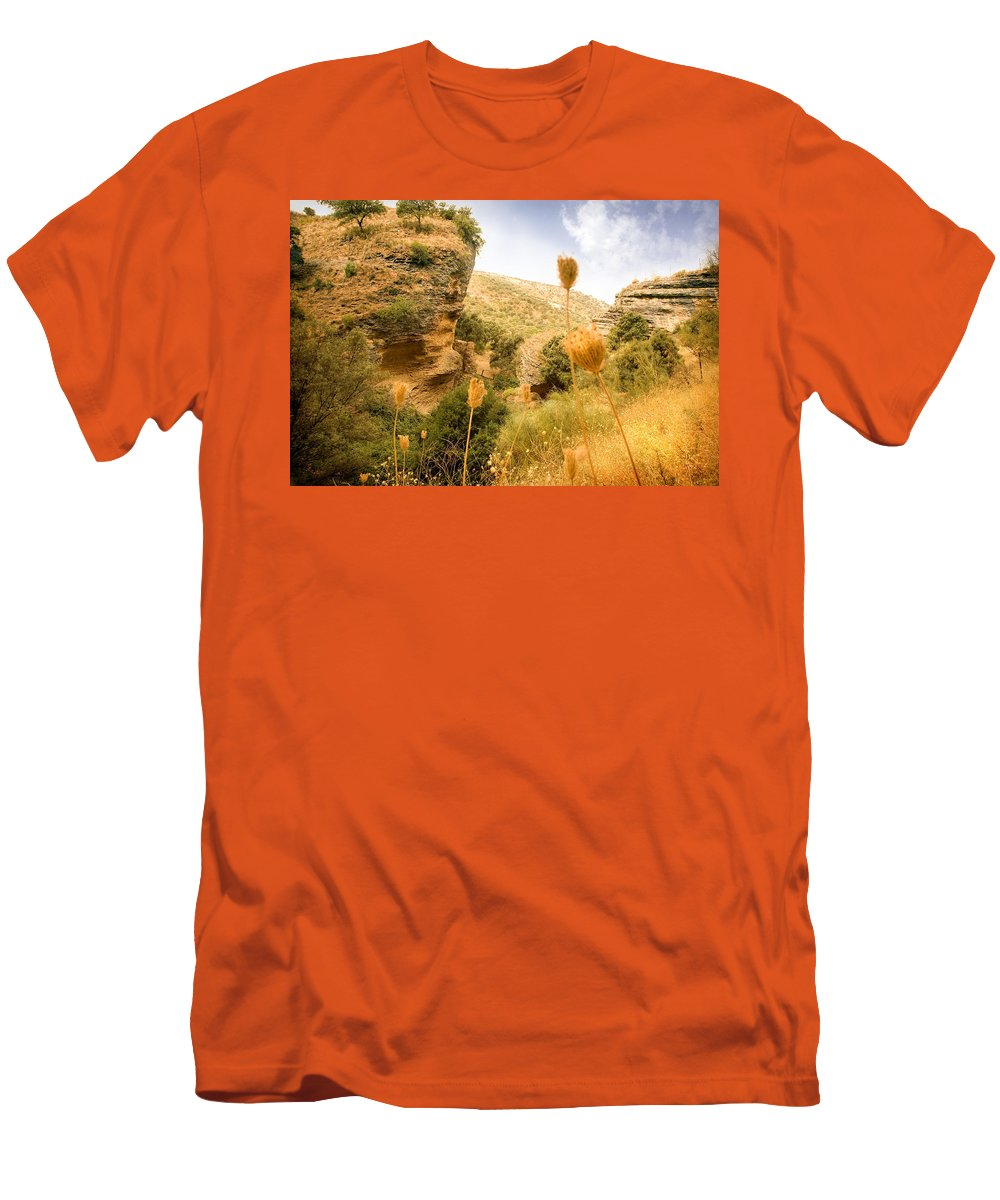 Spain Men's T-Shirt (Athletic Fit) featuring the photograph Bandit Country Near The Edge Of The Fan In Ronda Area Andalucia Spain by Mal Bray