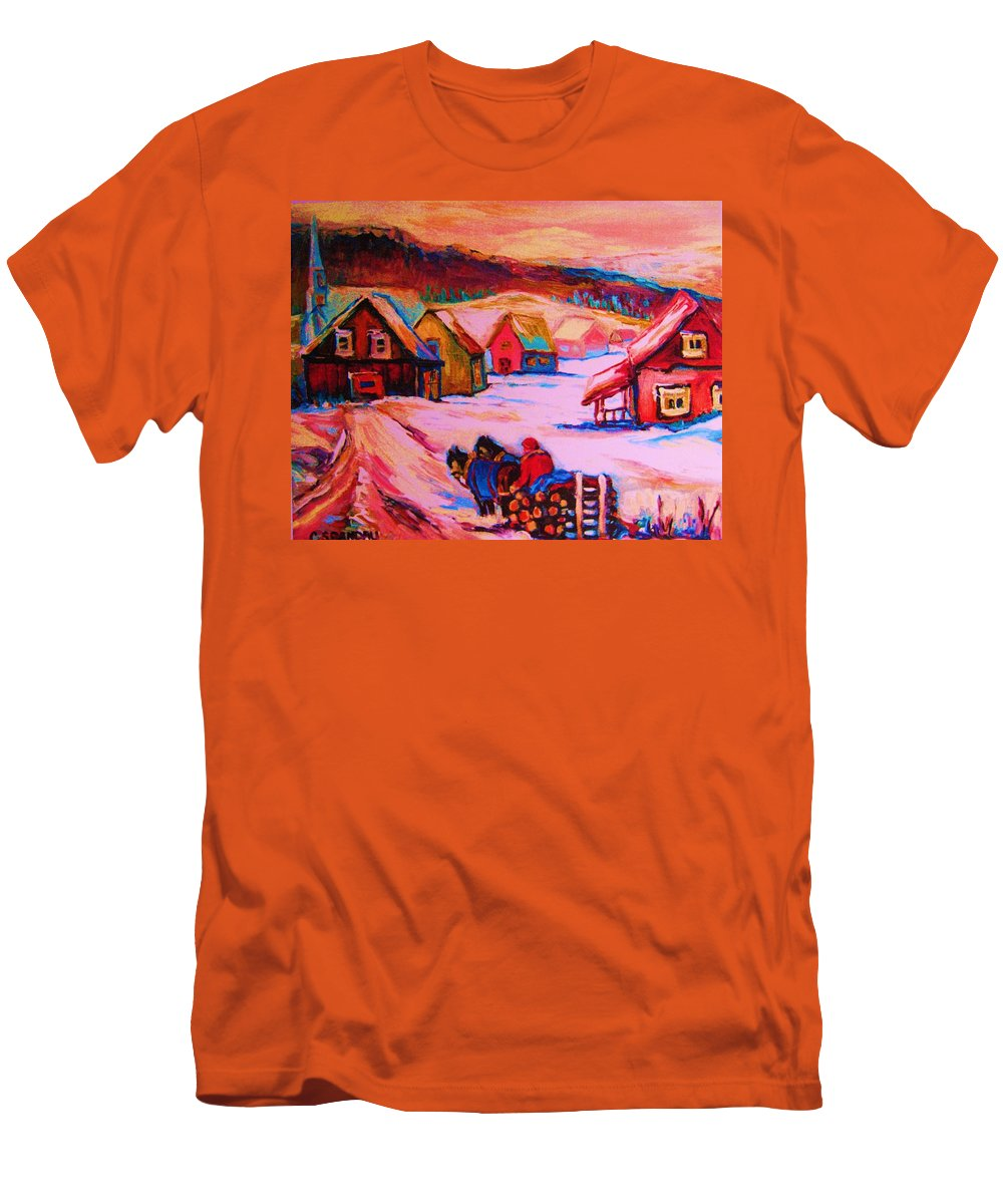 Winterscene Men's T-Shirt (Athletic Fit) featuring the painting Beautiful Village Ride by Carole Spandau
