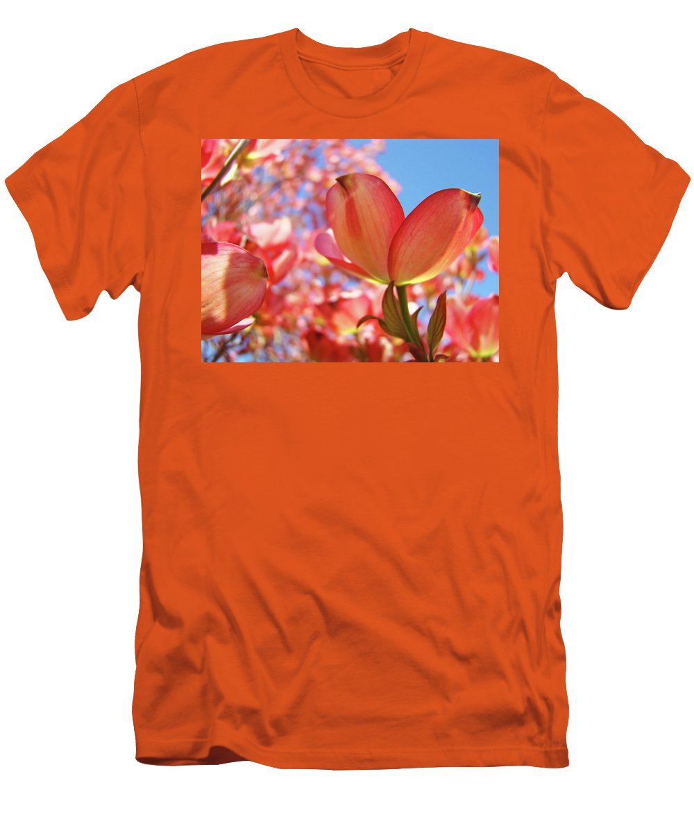 Dogwood Men's T-Shirt (Athletic Fit) featuring the photograph Blue Sky Pink Azalea Dogwood Flowers 4 Landscape Nature Artwork by Baslee Troutman