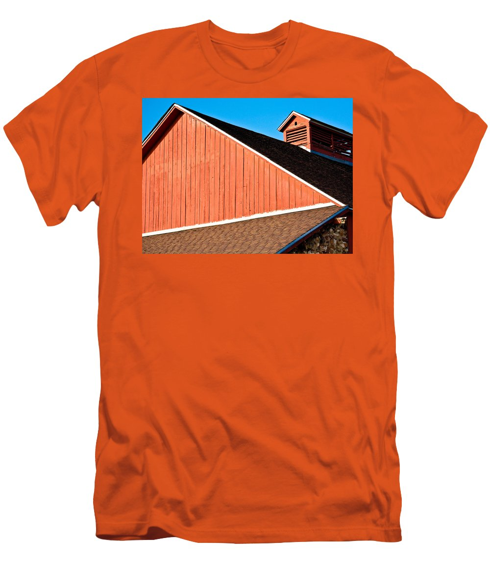 Americana Men's T-Shirt (Athletic Fit) featuring the photograph Bright Red Barn by Marilyn Hunt