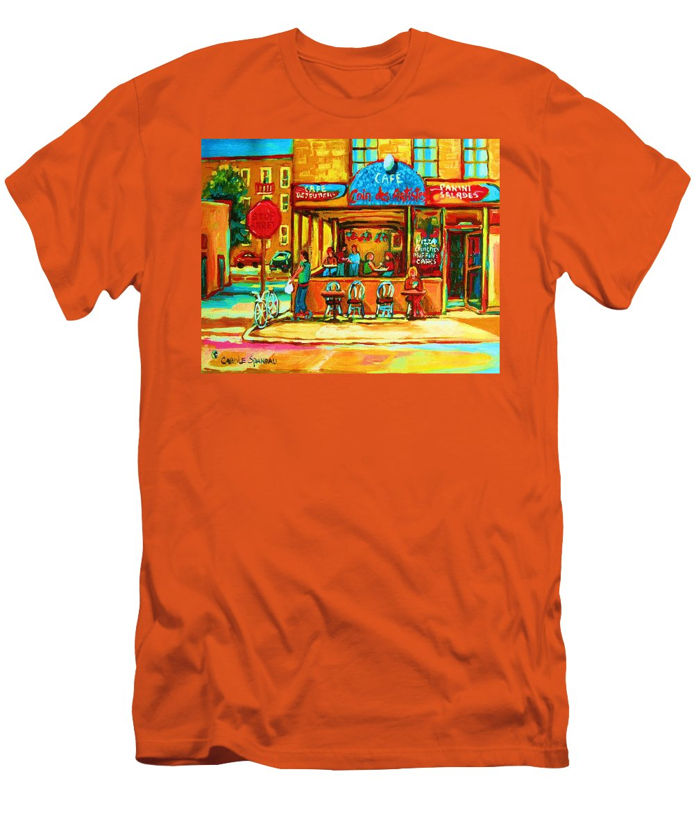 Cafes Men's T-Shirt (Athletic Fit) featuring the painting Cafe Coin Des Artistes by Carole Spandau