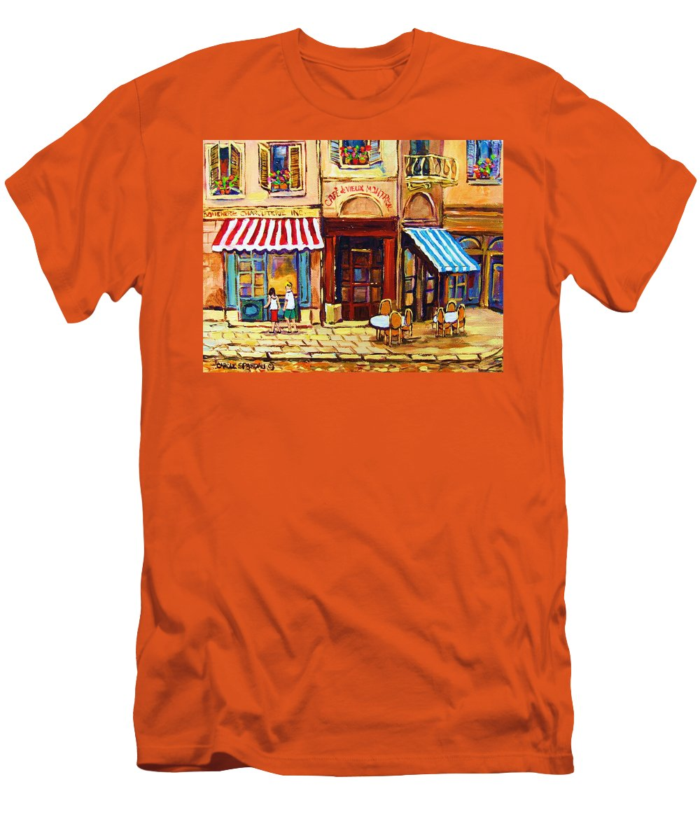 Old Montreal Outdoor Cafe City Scenes Men's T-Shirt (Athletic Fit) featuring the painting Cafe De Vieux Montreal With Couple by Carole Spandau