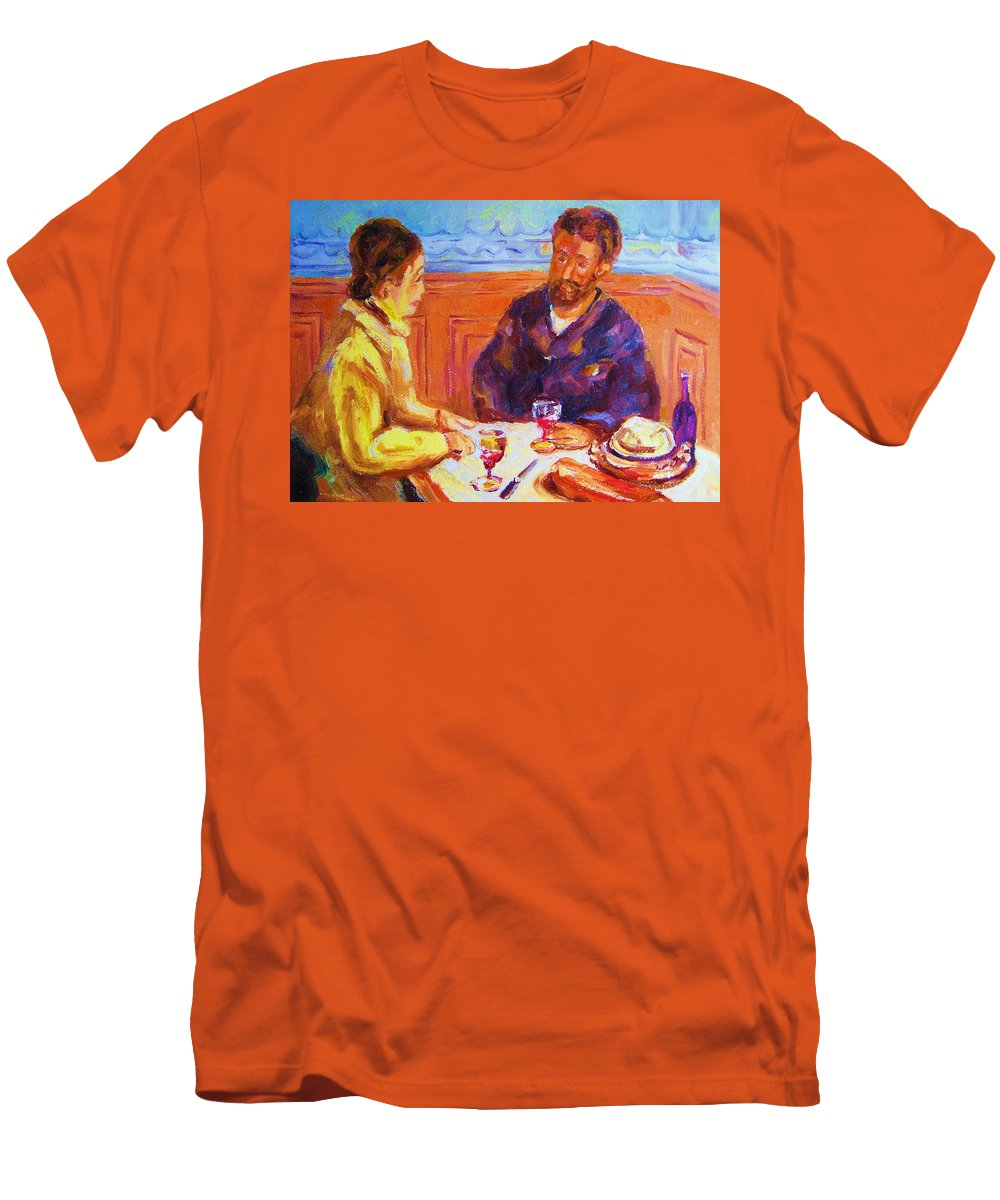 Cafes Men's T-Shirt (Athletic Fit) featuring the painting Cafe Renoir by Carole Spandau