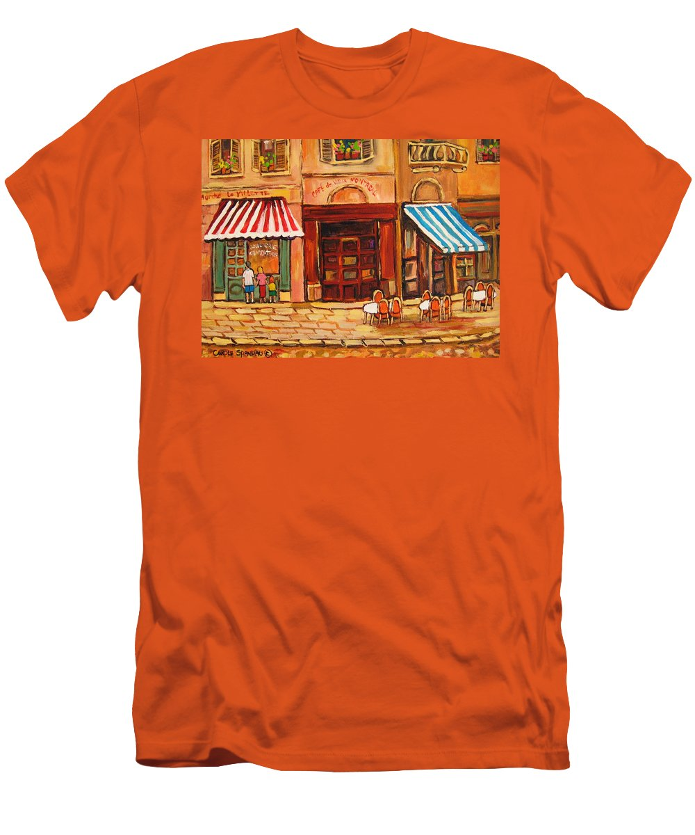 Cafe Vieux Montreal Street Scenes Men's T-Shirt (Athletic Fit) featuring the painting Cafe Vieux Montreal by Carole Spandau
