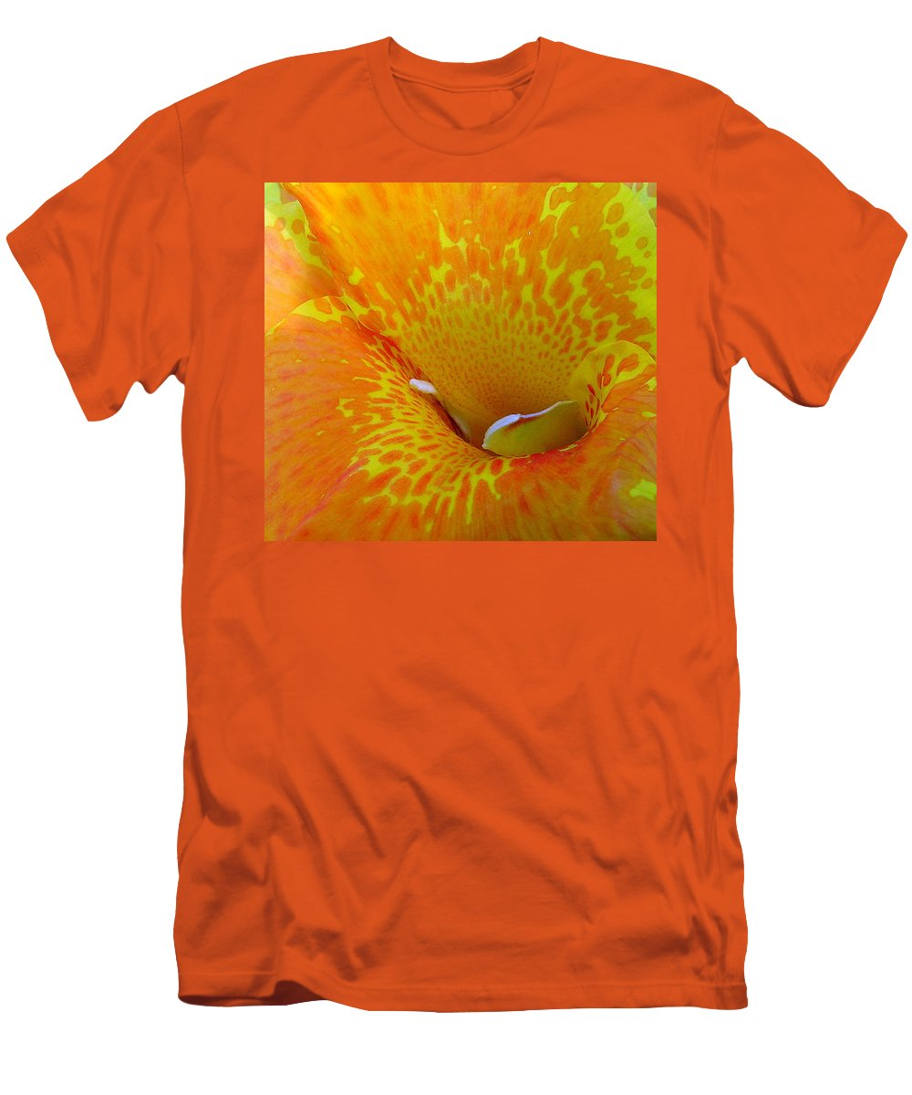 Orange Yellow Flower Men's T-Shirt (Athletic Fit) featuring the photograph Canna by Luciana Seymour