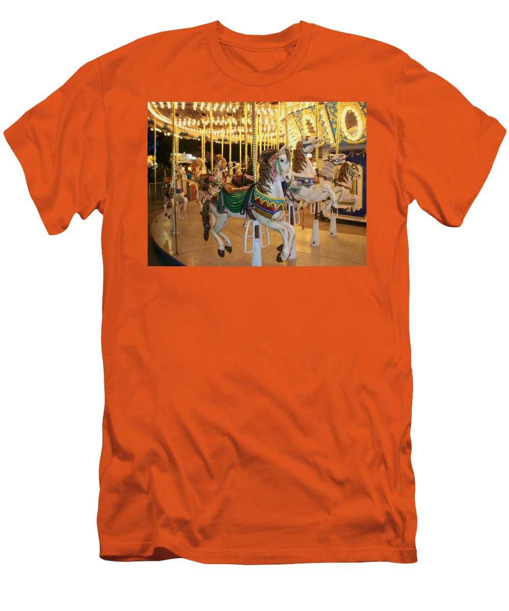 Carousel Horse Men's T-Shirt (Athletic Fit) featuring the photograph Carousel Horse 4 by Anita Burgermeister