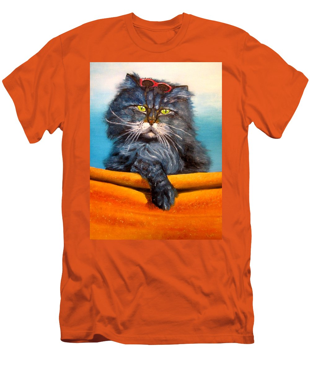 Cat Men's T-Shirt (Athletic Fit) featuring the painting Cat.go To Swim.original Oil Painting by Natalja Picugina